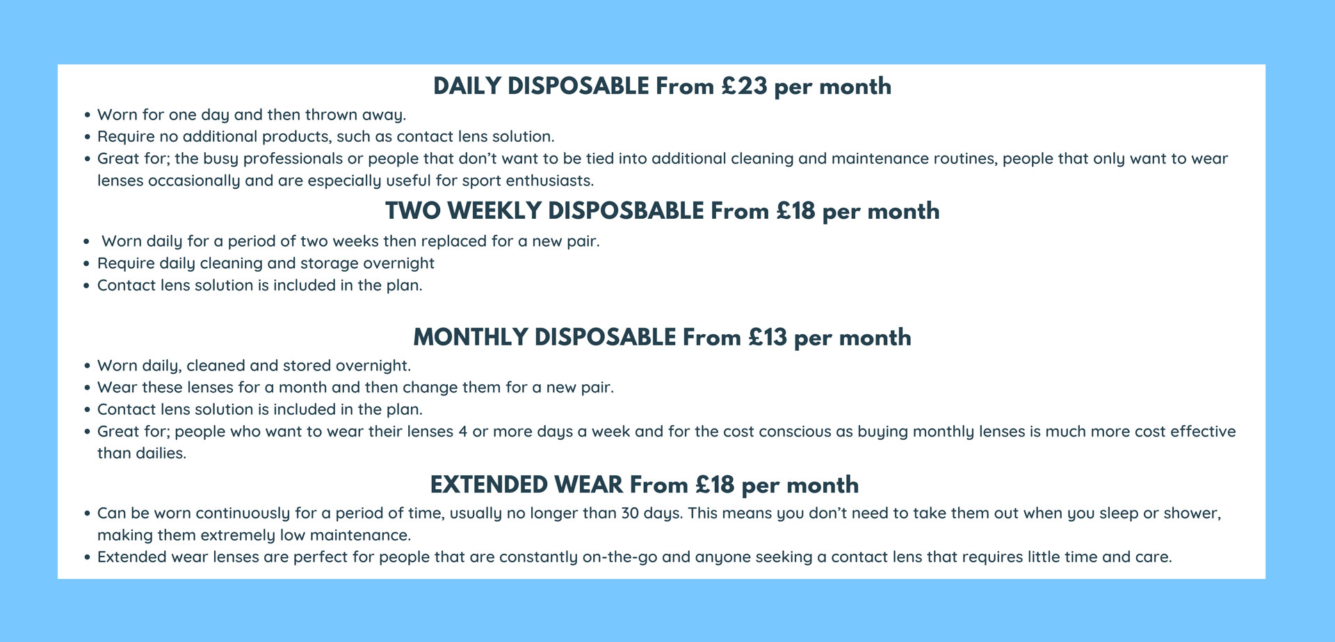 image showing different plans with rates